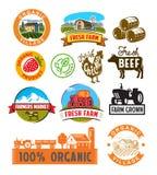 Vector farm labels Royalty Free Stock Photos
