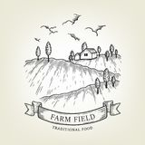 Vector farm landscape. Rural view done in graphic style, isolated on background. Royalty Free Stock Photos