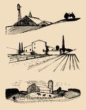 Vector farm landscapes illustrations set. Hand drawn countryside. Drawings of villa, peasants house in fields. Vector farm landscapes illustrations set. Hand Stock Photos