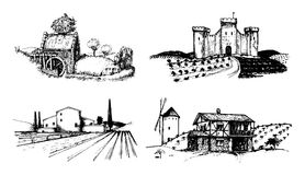Vector farm landscapes illustrations set. Sketches of castle, agricultural homestead, watermill etc. Rural countryside Stock Image