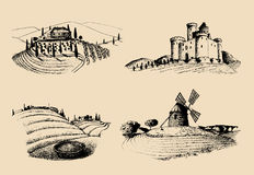 Vector farm landscapes illustrations set. Sketches of castle, villa, windmill etc in fields. Hand drawn countryside. Stock Images