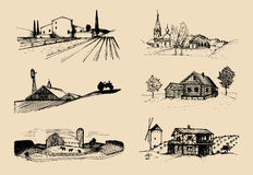 Vector farm landscapes illustrations set. Sketches of villa, homestead in fields and hills. Russian countryside. Royalty Free Stock Photography