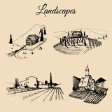 Vector farm landscapes illustrations set. Sketches of villa, vineyard, abbey,agricultural homestead in mountains,fields. Royalty Free Stock Image