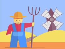 Vector farmer with pitchfork. Farmer with pitchfork. Vector flat. Stock illustration Stock Image