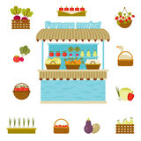 Vector farmers market icons Stock Photos