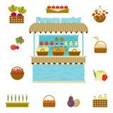 Vector farmers market icons Stock Photos
