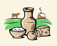 Vector farmers milk products. Vector color farmers milk products on beige background Stock Images