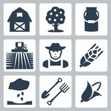 Vector farming icons set. Barn and apple tree, milk can, field and harvester, farmer, ear of wheat, seeding, spade and pitchfork, corn Royalty Free Stock Photography