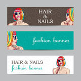 Vector fashion banners with woman wearing colorful wig Stock Photography