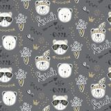 Vector fashion bear seamless pattern. Cute teddy illustration in Royalty Free Stock Photography