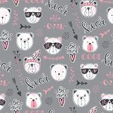 Vector fashion bear seamless pattern. Cute teddy illustration in Royalty Free Stock Photo