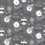 Vector fashion bear seamless pattern. Cute teddy illustration in. Sketch style. Cartoon animals background. Doodle bears. Ideal for fabric, wallpaper, wrapping vector illustration