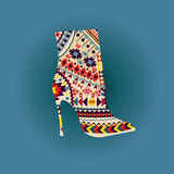 Vector Fashion Beautiful boot on high heel. Background of woman fashion high heel shoe boot with Ethnic and Geometric  Elements Royalty Free Stock Photos