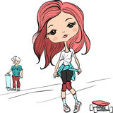 Vector fashion beautiful girl with the skateboard Royalty Free Stock Images