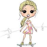 Vector fashion beautiful girl on the skateboard Stock Photo