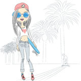 Vector fashion beautiful girl with skateboard Royalty Free Stock Images