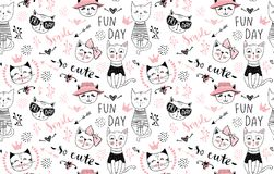 Vector fashion cat seamless pattern. Cute kitten illustration in. Sketch style. Cartoon animals background. Doodle kitty. Ideal for fabric, wallpaper, wrapping Stock Photos