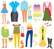 Vector fashion clothes and accessories Royalty Free Stock Photo