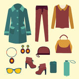 Vector  fashion clothes and accessories for women for desi Royalty Free Stock Photography