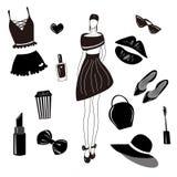 Vector fashion collection,set. Girls stylish accessory, cosmetic, woman stuff. Dress, bag,lipstick,sunglass,hat, underwear, hair a royalty free illustration