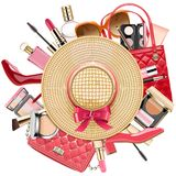 Vector Fashion Concept with Wicker Hat vector illustration