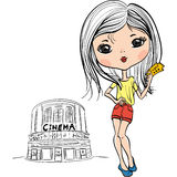 Vector fashion cute girl with cinema ticket Stock Images