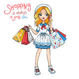 Vector Fashion Cute Girls Stock Images