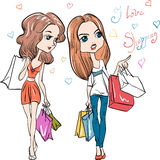 Vector fashion cute girls Royalty Free Stock Photo