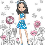 Vector fashion cute happy girl Stock Image