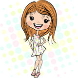 Vector fashion cute happy girl Royalty Free Stock Photography