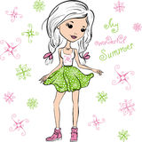Vector fashion cute happy girl Royalty Free Stock Images