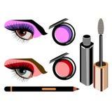 Vector fashion female makeup design glamour brush care. Vector fashion female makeup design glamour brush Royalty Free Stock Photo