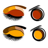 Vector fashion female makeup design glamour brush care. Vector fashion female makeup design glamour brush Stock Images