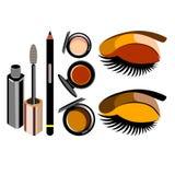 Vector fashion female makeup design glamour brush care. Vector fashion female makeup design glamour brush Stock Photos