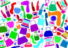 Vector fashion female makeup shoes bags Royalty Free Stock Photography