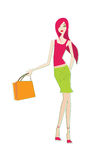 Vector fashion female shopping 3 Royalty Free Stock Image