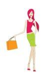 Vector fashion female shopping 3 Royalty Free Stock Image