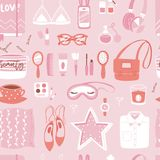 Vector fashion girl clothing and accessories  shopping items and beautiful cosmetic or makeup seamless pattern Royalty Free Stock Photo