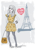 Vector fashion girl stock illustration
