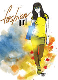 Vector fashion girl royalty free illustration