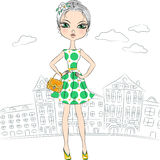 Vector fashion girl top model in the city Royalty Free Stock Images