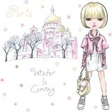 Vector fashion girl in winter clothes in Paris. Vector beautiful fashion hipster girl in winter clothes, sneakers, jacket and skirt with bag in front of Sacre royalty free illustration