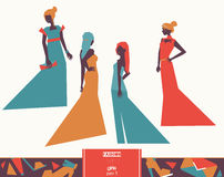 Vector fashion girls in different evening dresses apparel, various poses and accesories. Bright illustration for vogue and fashion stock illustration