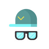 Vector fashion glasses and cool hat. Royalty Free Stock Photos