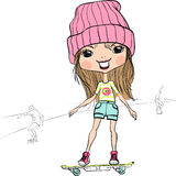 Vector fashion hipster baby girl on the skateboard Stock Images