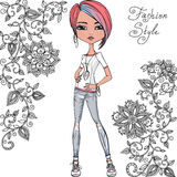 Vector fashion hipster girl Royalty Free Stock Photo