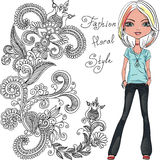 Vector fashion hipster girl Royalty Free Stock Image