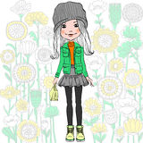 Vector fashion hipster girl Stock Photography