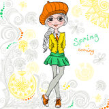Vector fashion hipster girl Stock Photos