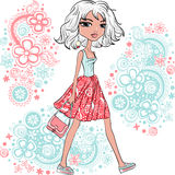 Vector fashion hipster girl stock images
